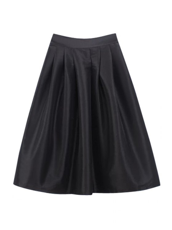 ladies Solid Color High Waisted Skirt - BLACK M