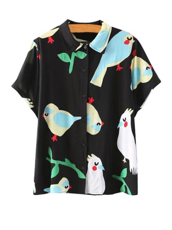 fancy Cartoon Bird Print Short Sleeve Shirt - WHITE AND BLACK S
