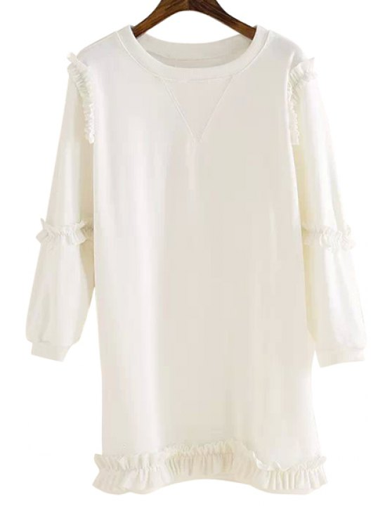 buy Ruffle Splicing Solid Color Sweatshirt - WHITE ONE SIZE(FIT SIZE XS TO M)