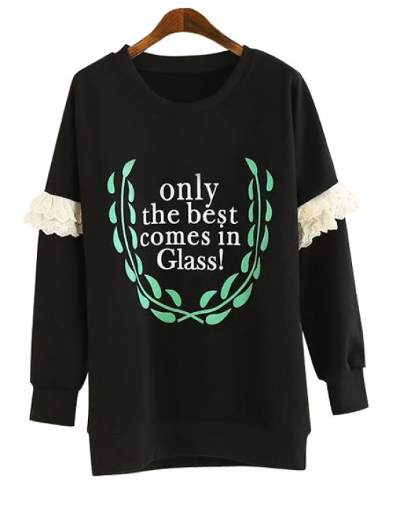 ladies Letter Leaves Print Lace Splicing Sweatshirt - BLACK ONE SIZE(FIT SIZE XS TO M)