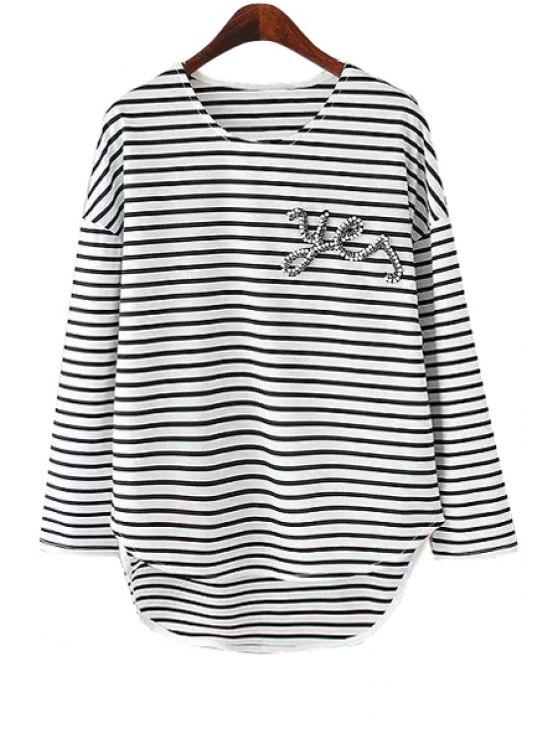 unique Stripe Faux Pearl Asymmetrical T-Shirt - WHITE AND BLACK S