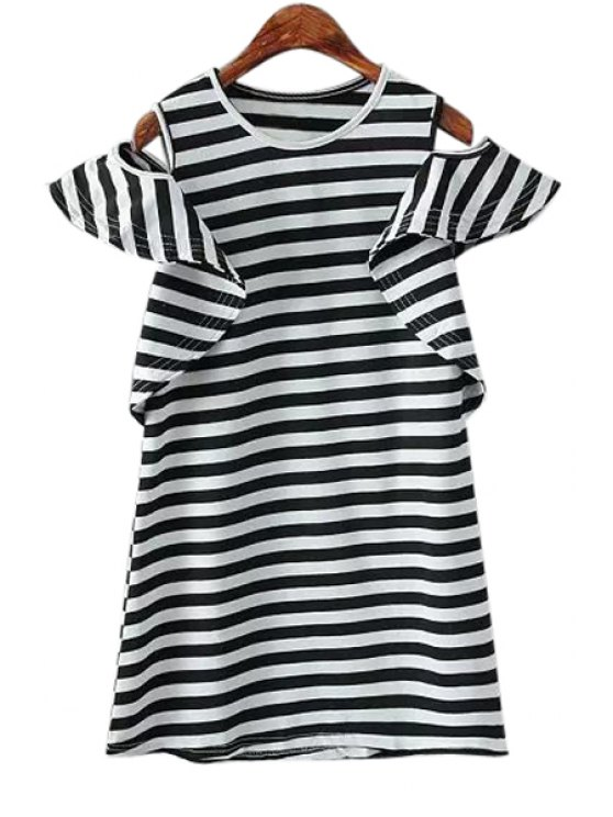 women's Off-The-Shoulder Stripe Flounce Splicing T-Shirt - STRIPE ONE SIZE(FIT SIZE XS TO M)