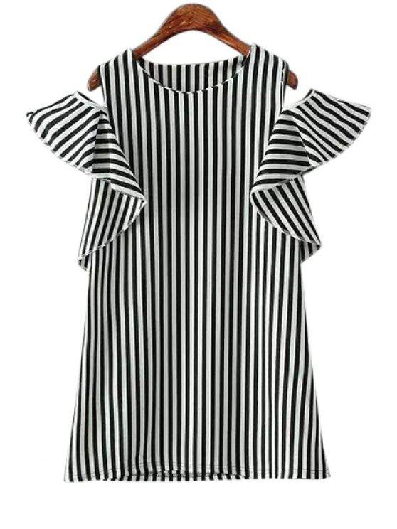 ladies Stripe Off-The-Shoulder Flounce Splicing T-Shirt - STRIPE ONE SIZE(FIT SIZE XS TO M)