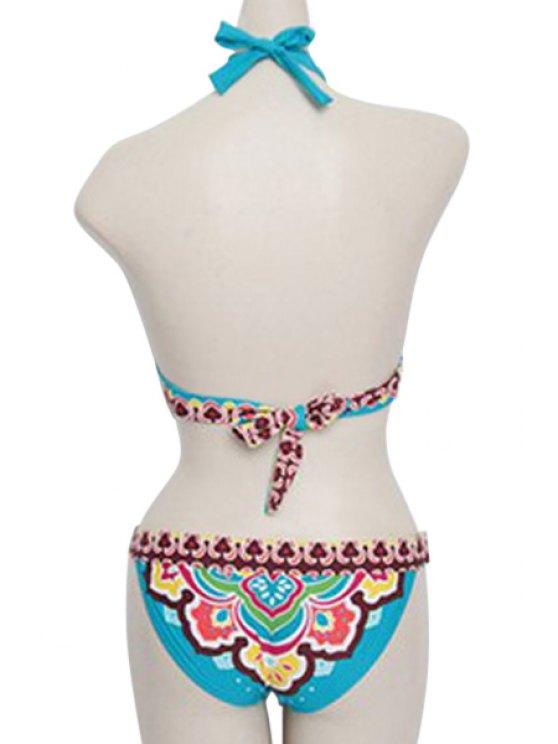 Blue Ethnic Print Halter Bikini Set - BLUE M Mobile