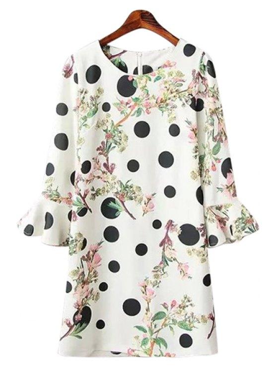 shops Polka Dot Leaves Print Dress - WHITE ONE SIZE(FIT SIZE XS TO M)