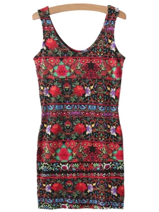 latest Color Block Floral Print Sleeveless Dress - COLORMIX S