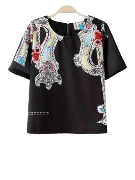unique Color Block Print Short Sleeve T-Shirt - BLACK S