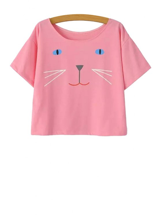 affordable Cat Face Print Short Sleeve T-Shirt - PINK S