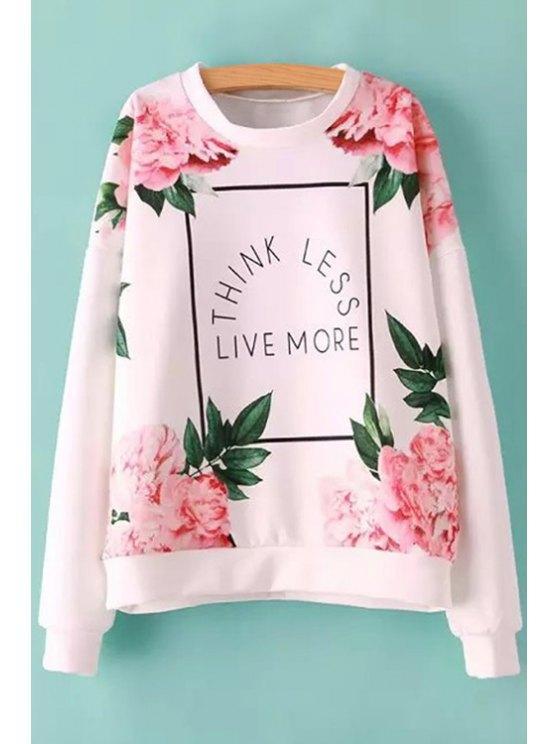 lady Letter Pink Floral Print Sweatshirt - COLORMIX S