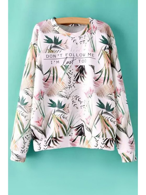 chic Letter Leaves Print Long Sleeve Sweatshirt - COLORMIX S