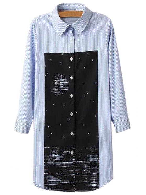 fancy Stripe Print Long Sleeve Shirt - BLUE S