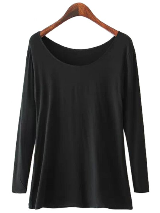outfit Solid Color Long Sleeve T-Shirt - BLACK S