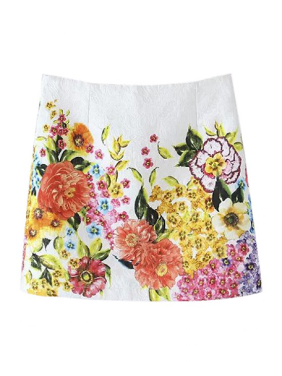 online Colorful Floral Print Zipper Fly Skirt - WHITE S