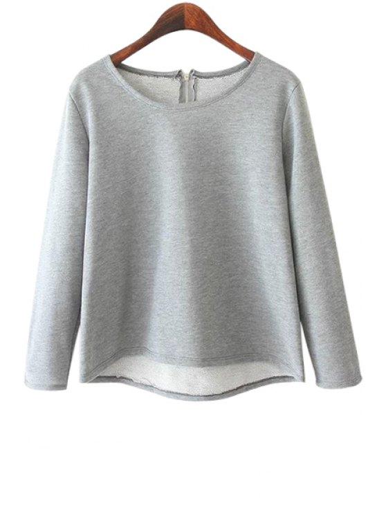 best Solid Color Asymmetrical Back Zipper T-Shirt - GRAY S