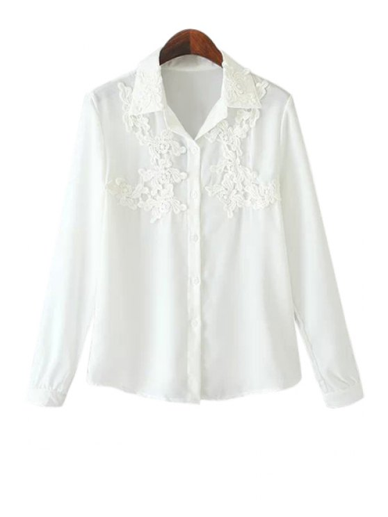 women Lace Splicing Solid Color Long Sleeve Shirt - WHITE M