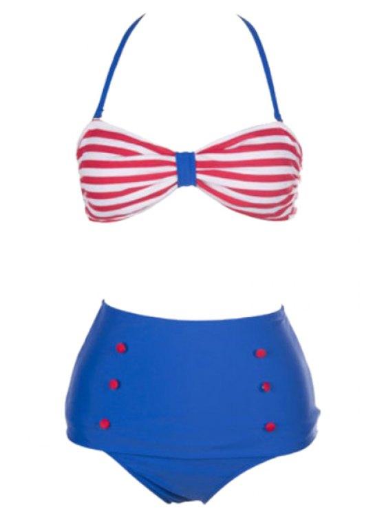 outfit Stripes High Waisted Bikini Set - BLUE S