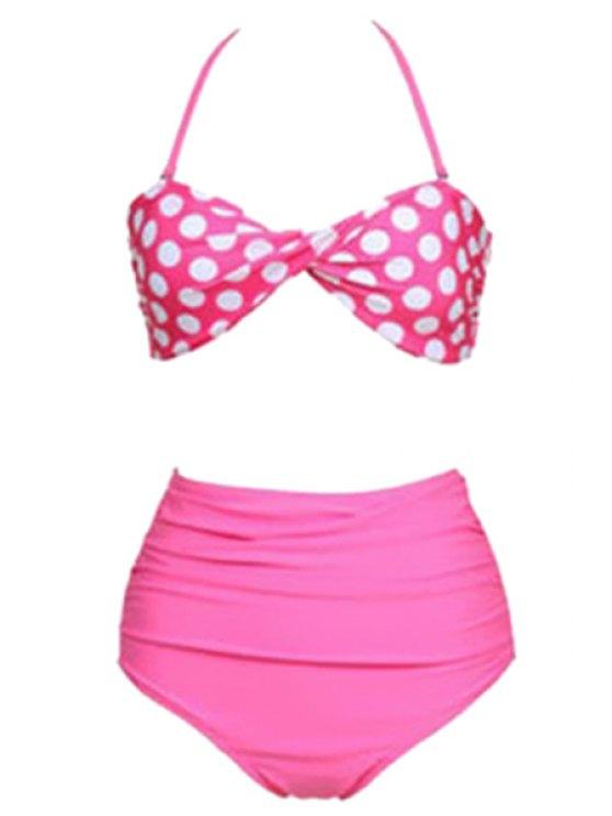 latest Polka Dots Halterneck Bikini Set - PINK S