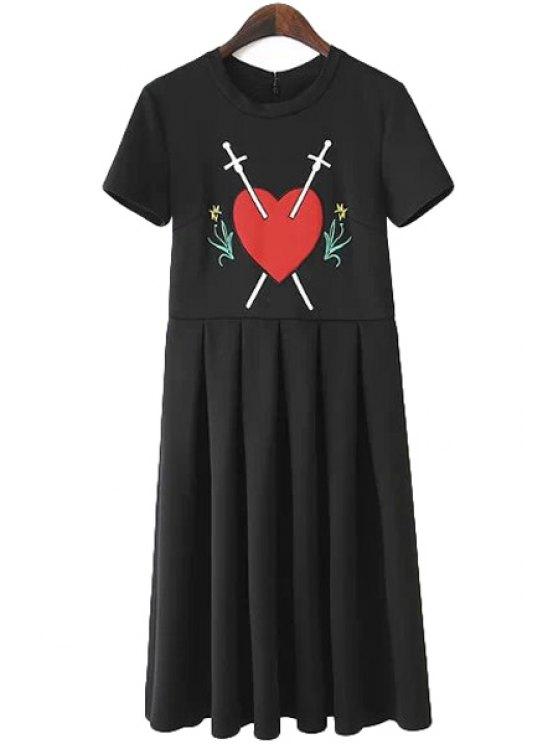 shop Heart Pattern Ruffle Short Sleeve Dress - BLACK L