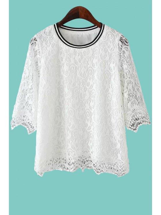 lady Openwork Lace Half Sleeve Shirt - WHITE S