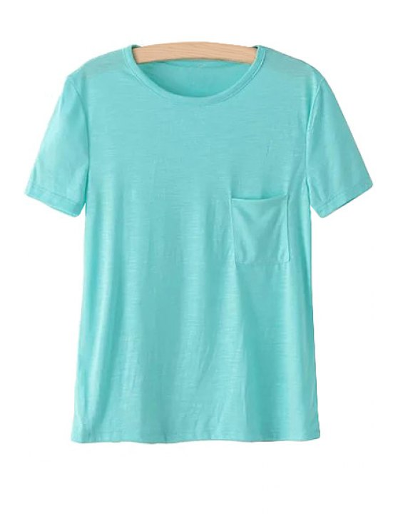 lady Solid Color Pocket Short Sleeve T-Shirt - LAKE BLUE ONE SIZE(FIT SIZE XS TO M)