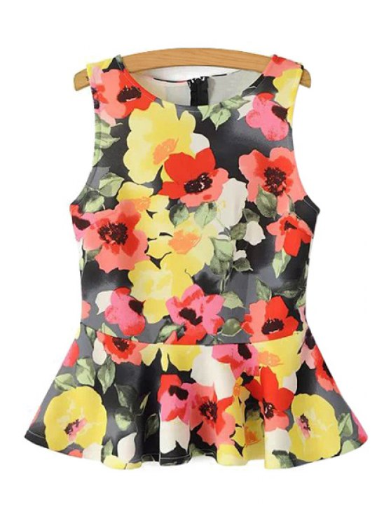 outfits Yellow Red Floral Print Sleeveless Blouse - YELLOW S