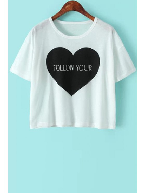 women's Heart Print Short Sleeve T-Shirt - WHITE ONE SIZE(FIT SIZE XS TO M)