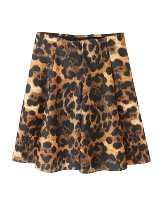 chic Ruffle Leopard Pattern Elastic Skirt - LEOPARD S