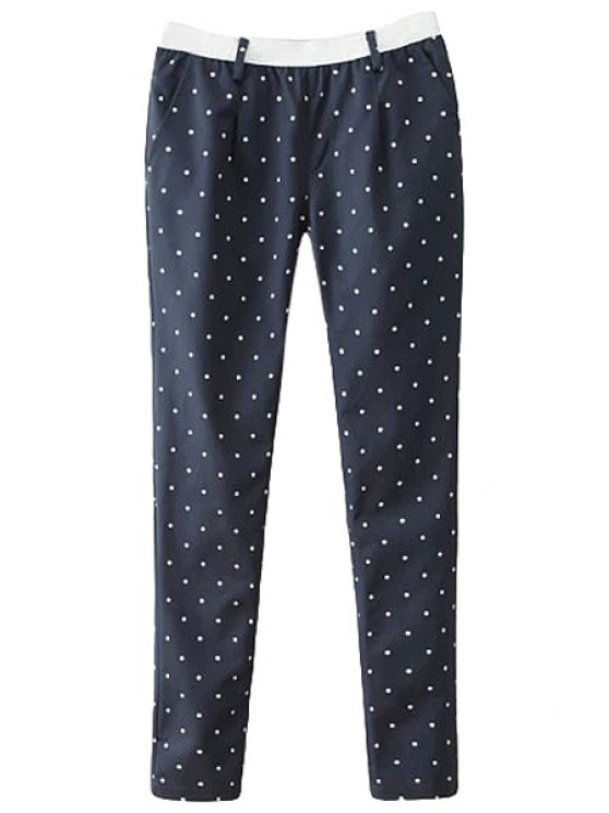 fancy Polka Dot Elastic Waist Pants - CADETBLUE S
