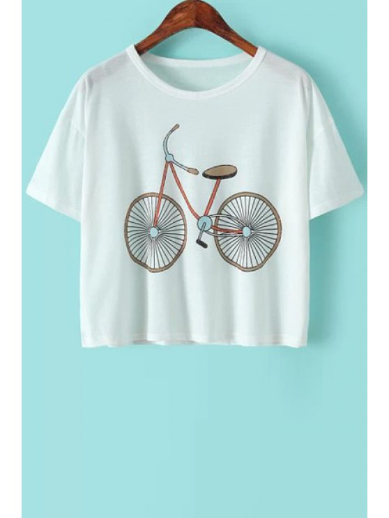 lady Bicycle Print Short Sleeve T-Shirt - WHITE ONE SIZE(FIT SIZE XS TO M)