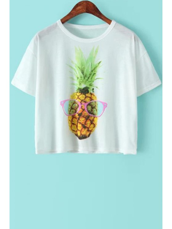 best Pineapple Print Short Sleeve T-Shirt - WHITE ONE SIZE(FIT SIZE XS TO M)