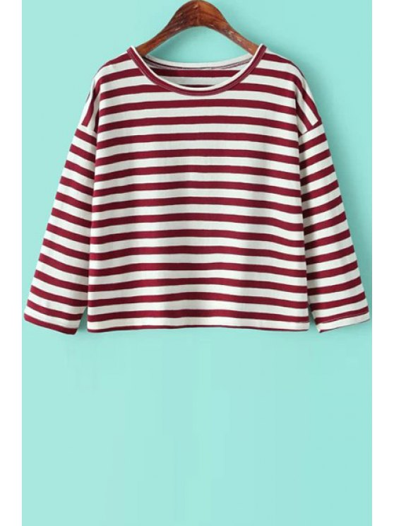 outfit Striped 3/4 Sleeveless T-Shirt - RED ONE SIZE(FIT SIZE XS TO M)