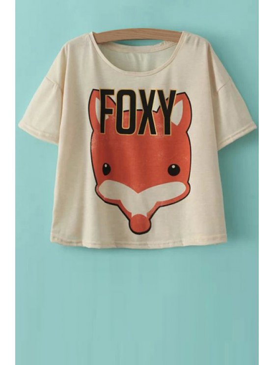 shops Fox Print Short Sleeves T-Shirt - BEIGE ONE SIZE(FIT SIZE XS TO M)