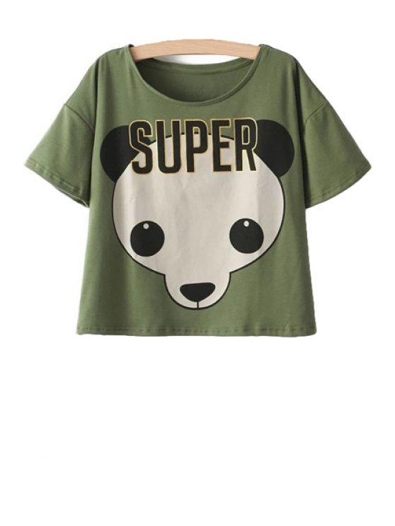 latest Panda Print Short Sleeves T-Shirt - ARMY GREEN ONE SIZE(FIT SIZE XS TO M)