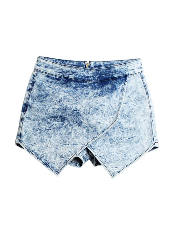 women Bleach Wash Asymmetrical Culottes - LIGHT BLUE 34