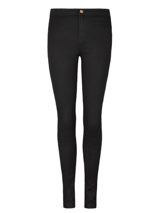 new High Waist Solid Color Pants - BLACK 25