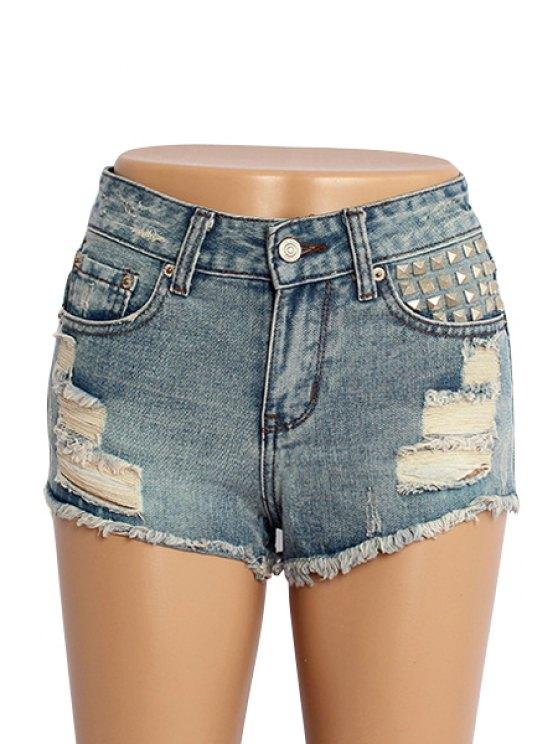 trendy Destroy Wash Rivet Shorts - BLUE 32