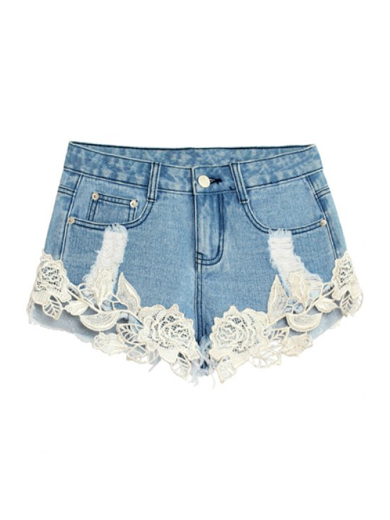 lady Floral Lace Splicing Hole Shorts - LIGHT BLUE 32