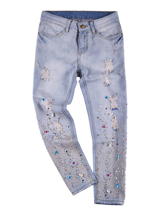 womens Colorful Rhinestoned Hole Jeans - LIGHT BLUE 26