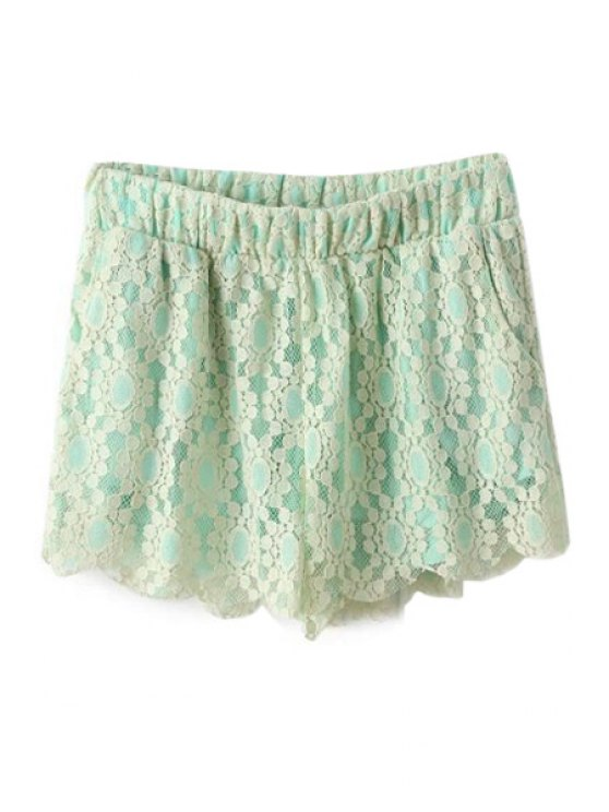 sale Lace Elastic Waisted Shorts - GREEN S
