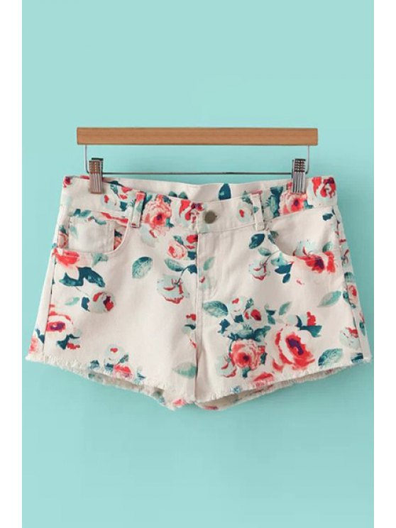 outfit Floral Print Denim Shorts - OFF-WHITE M