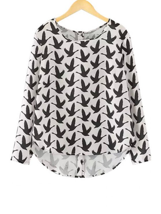 women Full Birds Print Long Sleeve Blouse - WHITE AND BLACK S