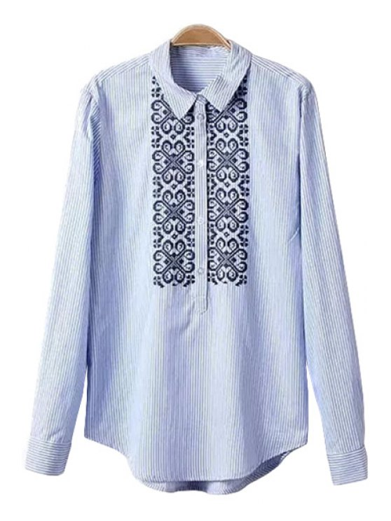 new Striped Embroidery Shirt - STRIPE S