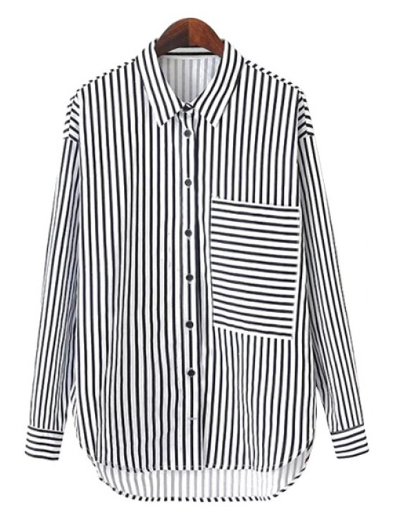 outfits Striped Pocket Long Sleeve Shirt - STRIPE S