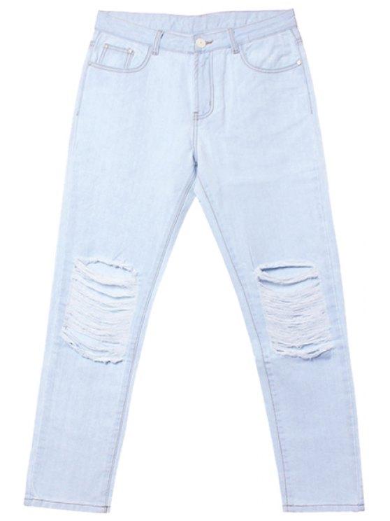 ladies Hole Bleach Wash Jeans - LIGHT BLUE 30