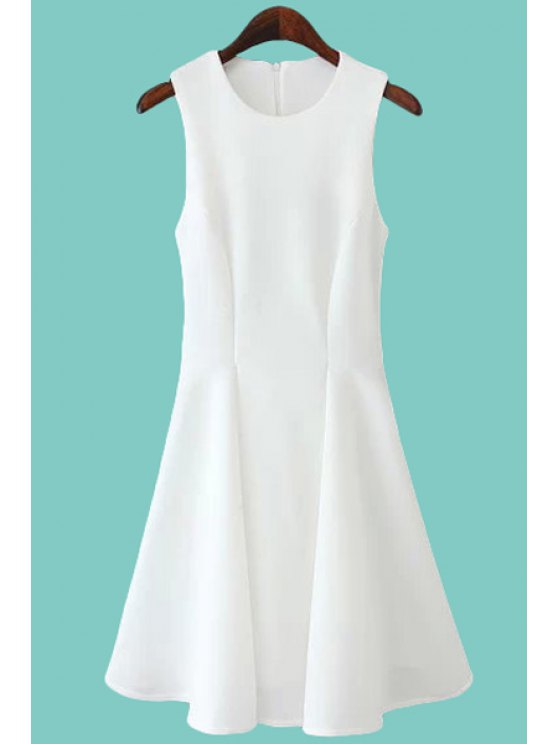 affordable Solid Color Jewel Collar Sundress - WHITE S
