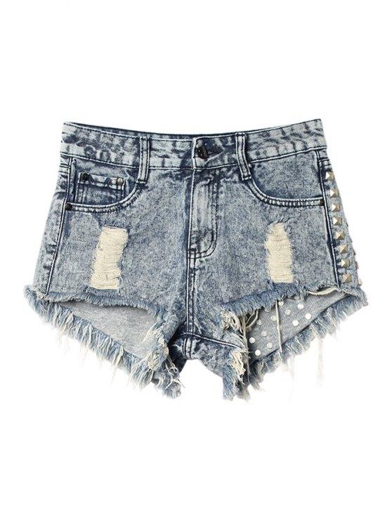 trendy Hole Fringe Rivet Shorts - LIGHT BLUE 40