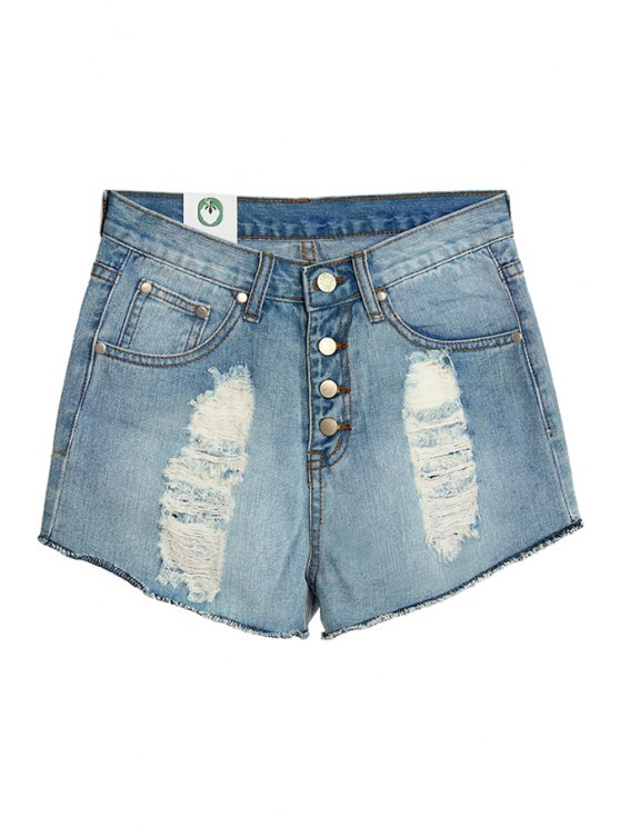 unique Hole Bleach Wash Denim Shorts - LIGHT BLUE S
