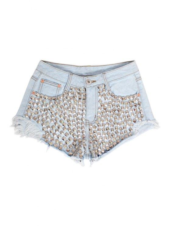 ladies Full Rivet Denim Shorts - LIGHT BLUE S