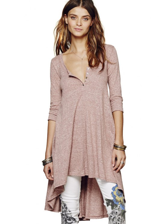 outfits Half Sleeves Solid Color Dress - PINK S