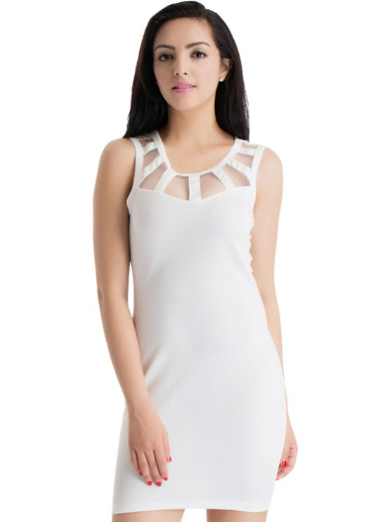 affordable Solid Color See-Through Sleeveless Dress - WHITE S
